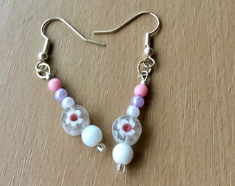 Silver and Beaded Drop Earrings,