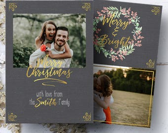 Christmas Photo Card, Merry and Bright Card, Holiday Card, Gold Card, Printable Card, Greeting Card, 5x7 Card, Digital File, JPG, PDF