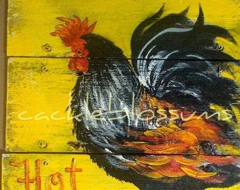 "16"" X 16"" #623 Rustic Wood Wall Decor Rooster Original Art"