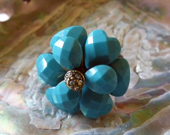 Sale! Vintage Costume Jewelry Turquoise Flower Ring with Rhinestone Center