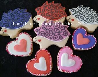 Mother's Day Cookies - Decorated Cookies - Valentines Day Cookies - Hedgehog Cookies -  Hedgehog Valentine - 8 Cookies