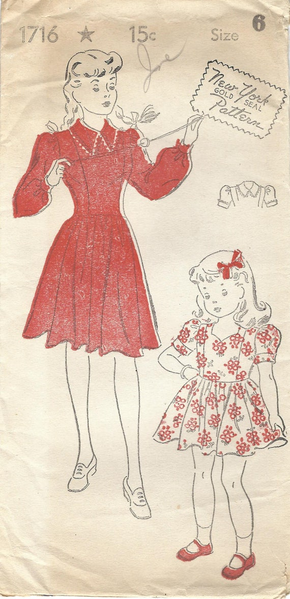 década de 1940 Nueva York FF 1716 costura Vintage patrón