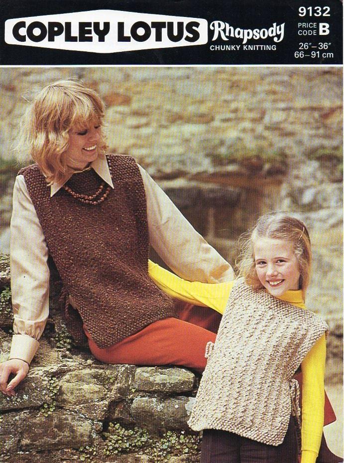 ladies tabard knitting pattern pdf womens chunky tunic Vintage