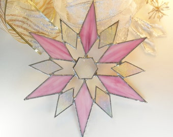 Beautiful Pink And Iridescent Snowflake. Stained Glass Star. Holiday Ornament. Suncatcher.
