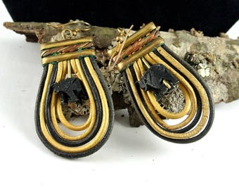 Black and Gold Rope Earrings Vintage Earrings Teardrop Dangle Earrings Tribal Earrings Black Carved Elephant Charm Earrings