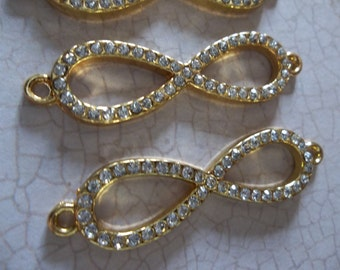 Jewelry Connectors - Large Gold Infinity Loops with Clear Rhinestones - 41 x 10mm - 3 pieces