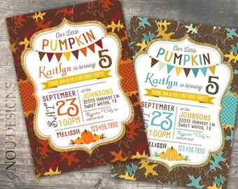 Autumn Pumpkin Fall Leaves Seasonal Birthday Invitation Card Printable File