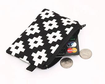 Tribal Coin Purse, Padded Zipper Pouch, Women's Small Zip Wallet, Fabric Coin Bag, Small Makeup Pouch - black and white geometric