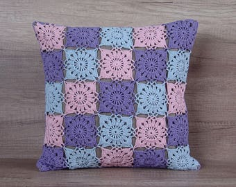 Cool crochet granny square pillow, colorful pastel pink blue lilac accent cushion cover, baby cotton decorative pillow 16 x 16 (40 x 40 cm)
