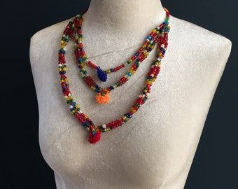 Banjara Gypsy Beaded Necklace from India. Rare piece 20-30 years old, in beautiful condition. Vibrant, Unique, stylish Vintage jewellery