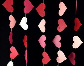 Valentine's Garland: Blush Pink, Dark Pink and Red Heart Garland, Valentine's Day Decorations, Romantic Valentine Decor - GH047-26-46-47