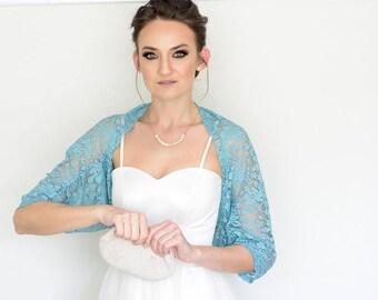 Turquoise shawl, lace shawl, boho shawl, turquoise bolero, wedding shawl, boho wedding, wedding bolero