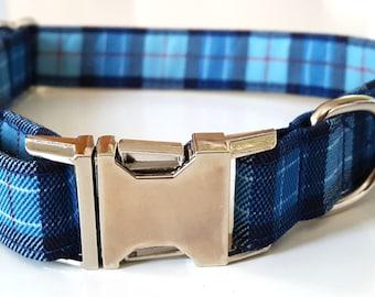 Blue Plaid Check Dog Collar