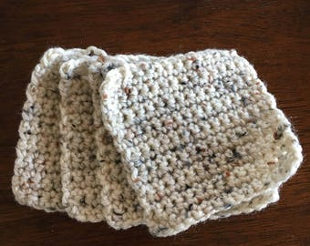 Set of 4 square crocheted coasters