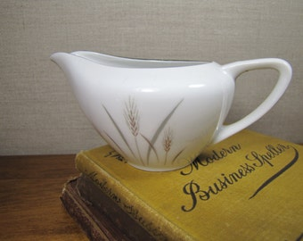 Fine China - Japan - Platinum Wheat - Creamer - Brown Wheat - Gray Leaves