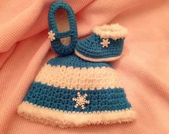 Snowflake button Beanie and Mary Jane Shoes or boots