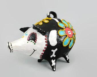 Dia De Los Muertos Pig, Day of the Dead, Upcycled Vintage Piggy Bank, Paper Mache, Flowers,  OOAK Hand Painted Papermache Piggy Bank