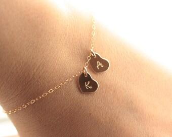 Gold Initial Bracelet,Tiny Charm Bracelet, Heart Bracelet, Dainty Bracelet, Personalized Mothers Bracelet, Bridesmaids Bracelet, Gold Fill