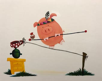 Acrylic on canvas (12 in x 16 in): Piggie & Balancing Circus Act