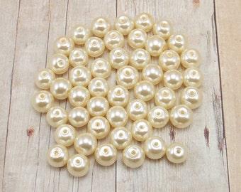 8mm Glass Pearls - Cream - Off White - Vanilla - Ecru - 50 pieces
