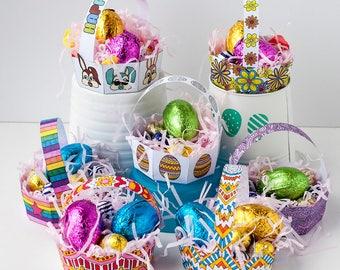 PRINTABLE EASTER BASKETS - 8 Pack - Printable Easter basket template, Easter printable, diy Easter egg basket, Easter activity printables