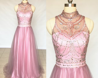 Sweetheart Mauve Tulle Long Prom Dress 2018
