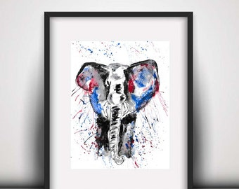 Giclee print, Elephant watercolour PRINT, African animal, elephant art, watercolour painting, elephant lover gift, watercolour animal print
