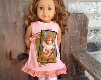 """American Girl Vintage style DRESS and bow. 18"""" doll peach pink green"""