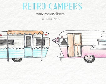 Watercolor Clip Art - Retro Campers, RV, Recreational Vehicle, Vintage, Camping, Summer, Camp, Travel, Family, Fun, Friends, BONUS Card