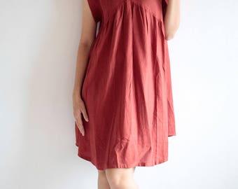 Cozy Mini dress / Cream natural Linen/cotton blend  1437