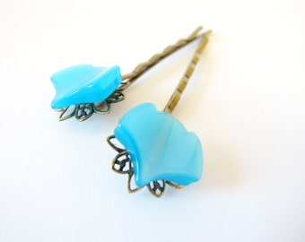 Aqua Bloom - Vintage Aqua Acrylic Jewel on Antiqued Gold Hair Pin - Set of two