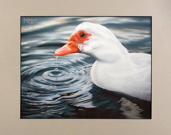 Duck Art Print ~ Giclee Reproduction of Original Pastel Painting Artwork ~ Matted and Ready to Frame ~ FREE SHIPPING