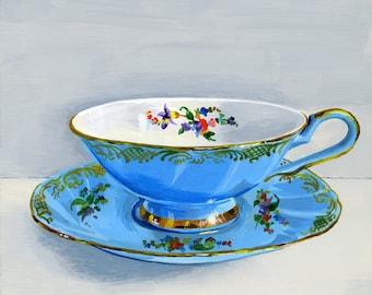 """Teacup pale blue. Limited edition giclée print 9/100, 15.2 x 15.2 cm (6"""" x 6"""")"""