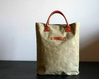 Waxed canvas bag - waxed canvas tote - waxed canvas handbag - tote bag - short handle bag - mens bag - handmade bag - Valentine's Day