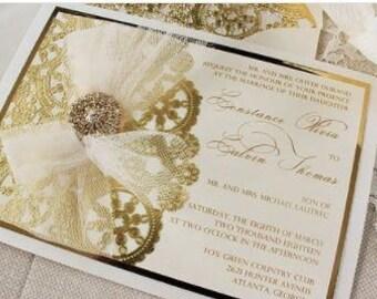 Metallic Cream and Gold Invitation