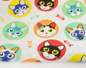 100% cotton fabric piece 160 x 50 cm, textile printing, cotton 100% red, green cats in a circle on