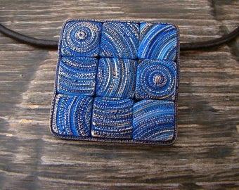 Necklace Square Blue Mosaic Pendant Fashionable
