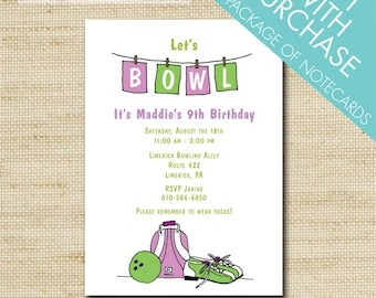 Bowling Birthday Party Invitations, Girls Bowling Invite, Vintage, Kids Bowling Invitation Printed Eco Cards or DIY Printable, FREE SHIPPING