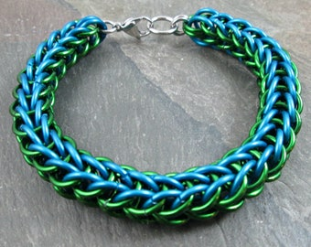 Chainmaille Bracelet - Full Persian Weave - Chainmaille Jewelry - Turquoise and Green - Chainmail Bracelet - Mens Bracelet