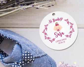 Etiqueta para Regalos de Bautizo Niña Personalizada e Imprimible para Celebrar Bautizo, Nuevo nacimiento, Nuevo Bebé, Descarga Digital