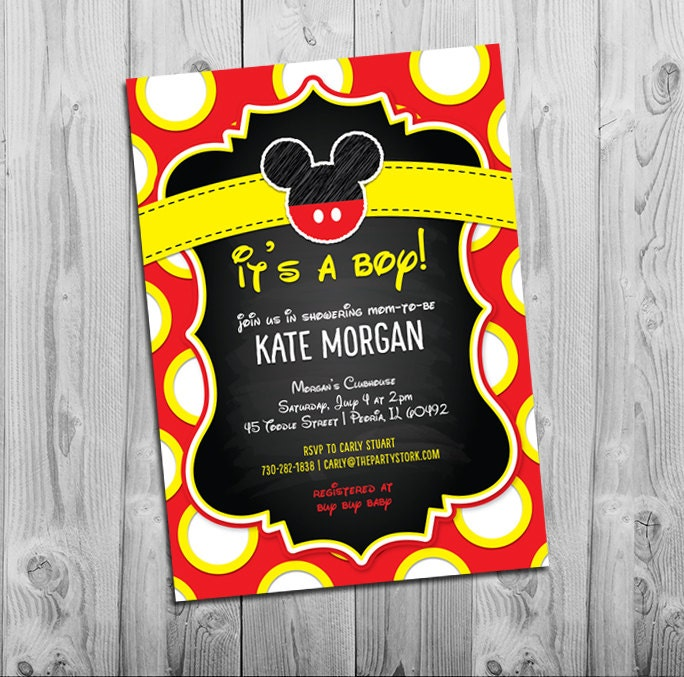 Fan image with mickey mouse baby shower invitations printable