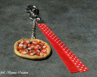 Handbag made of polymer clay pizza