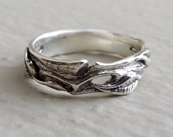 Leaf & Twig Wedding Band, Silver Tree Branch Ring, Leaf Ring, Twig Ring, Twig Wedding Band, Branch Band by Dawn Vertrees