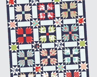 """PreSale - Over the Moon Quilt Kit by Thimble Blossoms using Smitten fabric by Bonnie & Camille for Moda 62"""" x 80"""" quilt top and binding"""