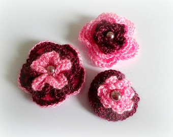 3 flowers in pink and Burgundy crochet with Pearl
