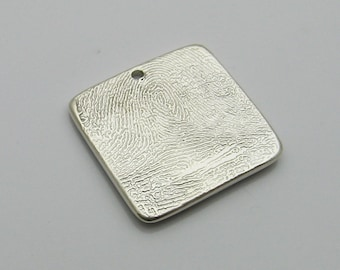 Square Fingerprint Charm, Silver Square Fingerprint, Fingerprint Jewelry, Personalized Charm, Men's Fingerprint Jewelry