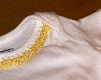 Crochet Edge Onesie - Yellow