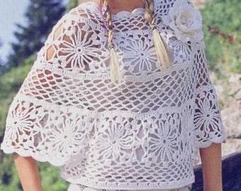 White Crochet poncho, made to order, bridal cape, women clothing, cover up, romantic feminine, summer finds, wedding, bridal celebration