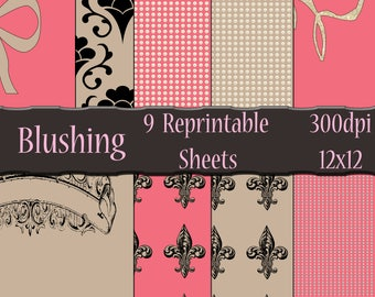 Blushing, A High Resolution 12x12 Printable Paper