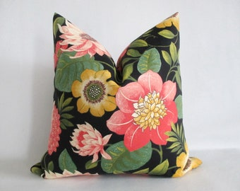 Pillow Cover Tropical Bold Floral on Black Water Lilies Lotus Flowers Pink, Golden Yellow, Green Indoor Outdoor 20 x 20